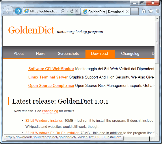Link to download the latest version of GoldenDict